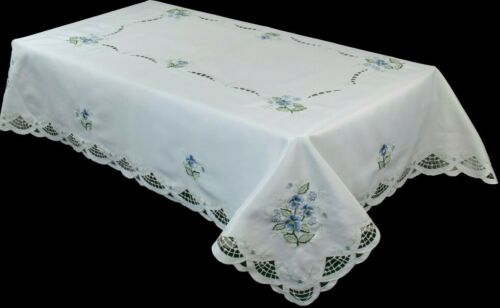 """54x72"""" Embroidery Cutwork Blue Flower Embroidered Fabric Tablecloth Polyester"""