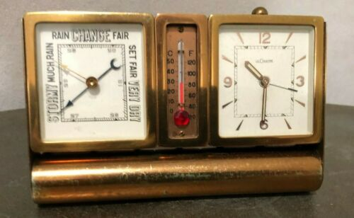 VINTAGE JAEGER-LECOULTRE MID CENTURY TRAVEL CLOCK/THERMOMETER /BAROMETER