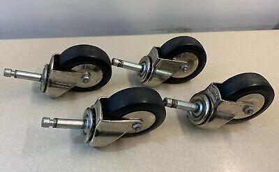4 Bassick Stem Casters Ball Bearing Swivel 3 Rubber Wheels Chrome Clean