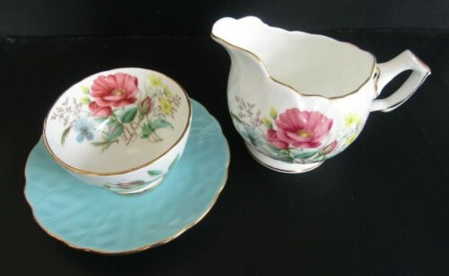 AYNSLEY Antique Sugar Bowl and Creamer Set Crocus Shape Turquoise Floral