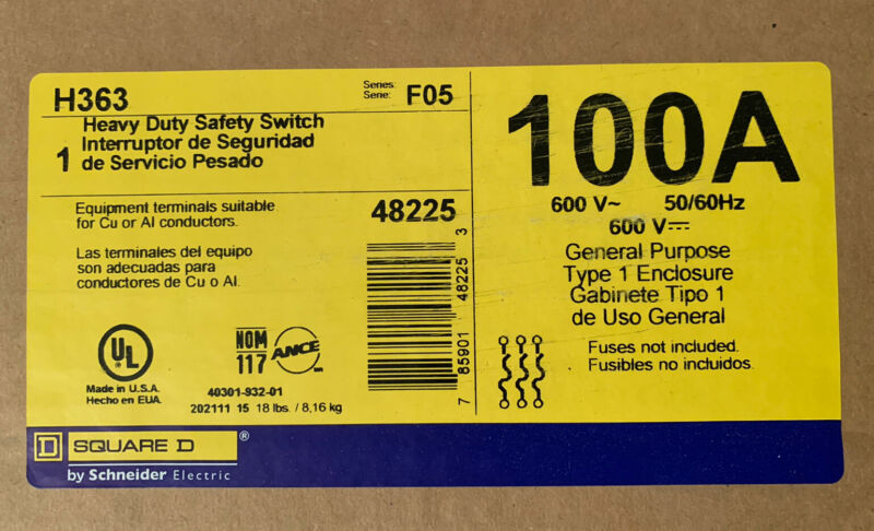 New In Box H363 SQUARE D 100AMP 600V HEAVY DUTY SAFETY SWITCH
