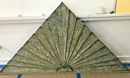 Fabulous triangle sunrise vintage metal gable pediment, great patina