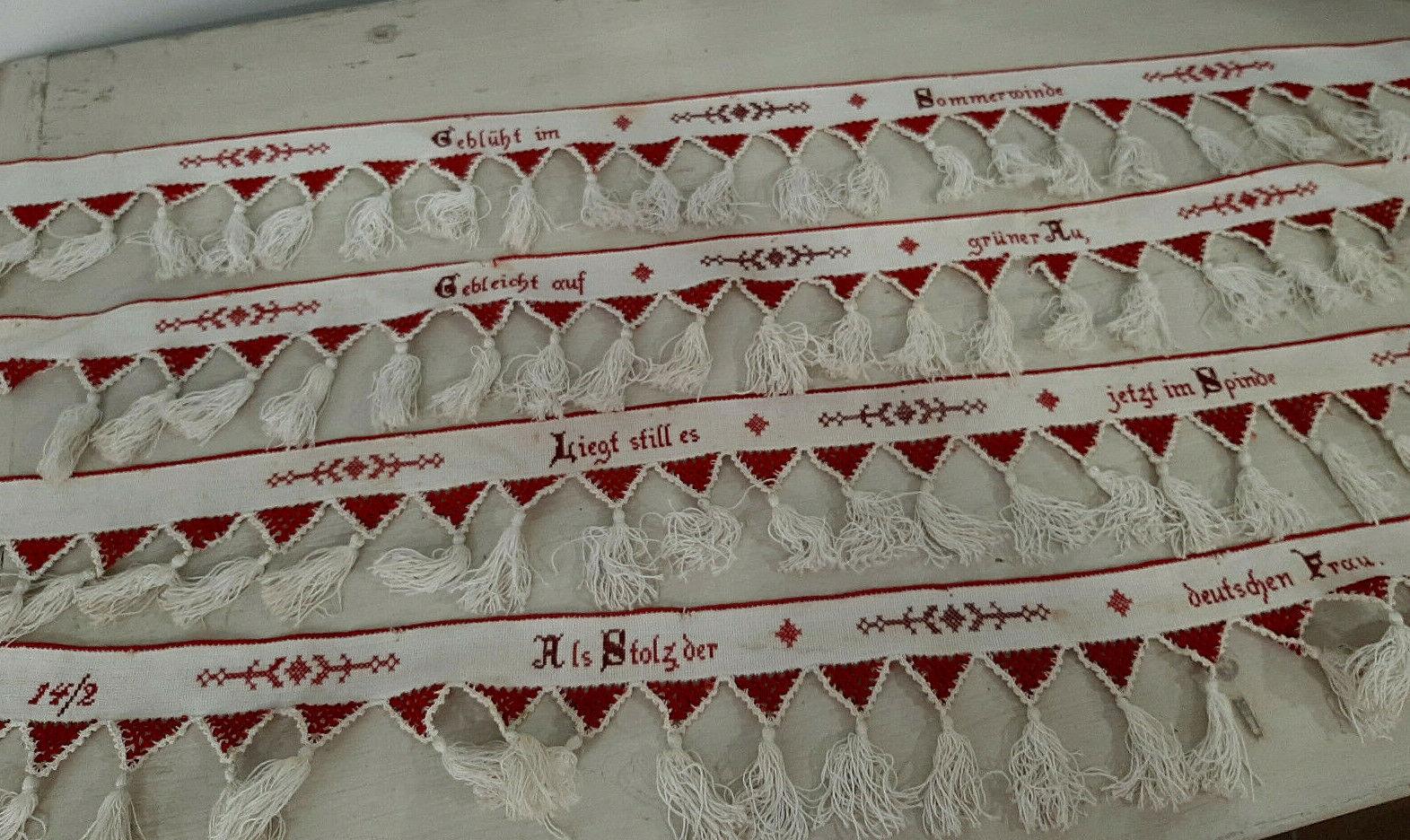 alte Schrankbänder - WäscheBänder  Spruchbänder - Stickerei Handarbeit - Vintage