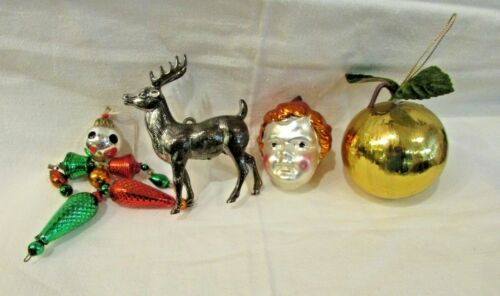 Antique Christmas Ornaments Lot  Christ Child Head, Jester, Apple, Reindeer