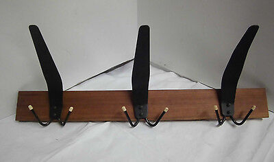 60er 70er Cloakroom Wall Coat Rack Mounting Wood Vintage