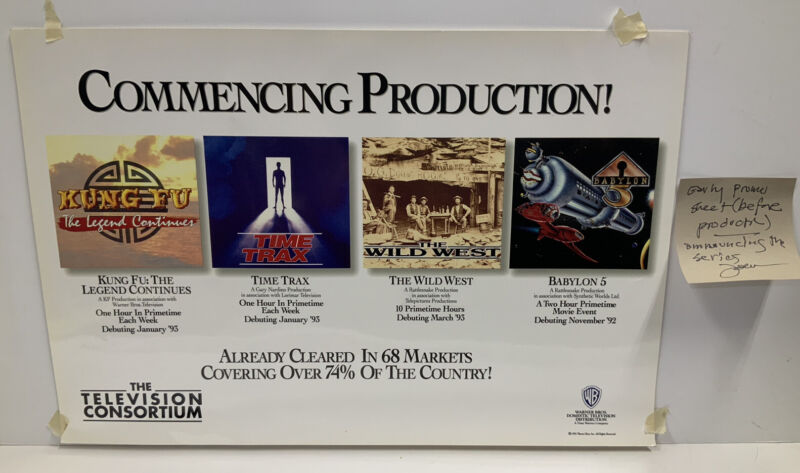 """Babylon 5 Commencing Production Pre Production Promotional Poster 16.25""""x11"""""""
