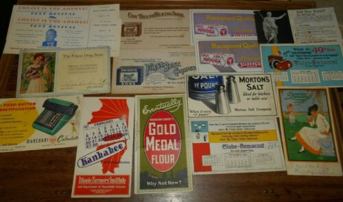 Ink Blotter Advertising Cards Vintage Lot