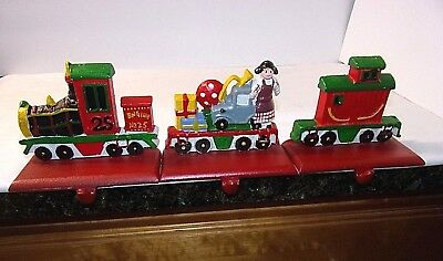 Christmas Train Stocking Hangers Engine Toys Caboose 3 Pc Set Holders Cast Iron