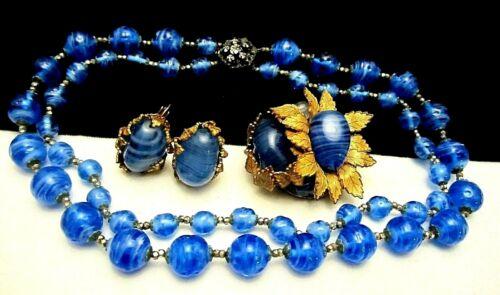 Rare Vintage Signed Miriam Haskell (Horseshoe) Blue Art Glass 3 Pc Set A56