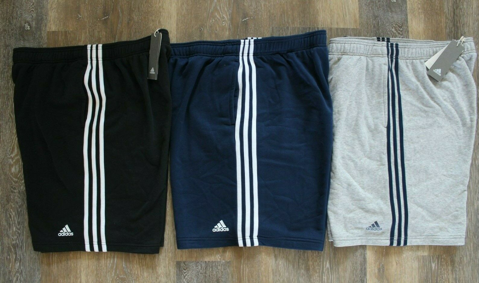 NWT Adidas Men's Logo Fleece Shorts Black Blue Gray XL XXL