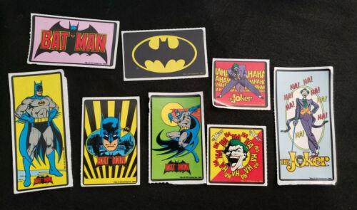 Vintage DC Super Heroes Sticker Lot x8 BATMAN JOKER 1964 1982 1989 NEW UNUSED OP