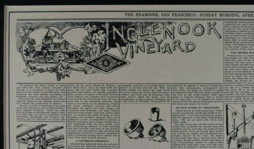 "San Francisco Examiner Article Inglenook Vineyard Napa California 21""x25"" framed"