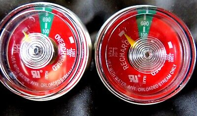 Lot Of 2-100 Psi Pressure Gauge For Portable Water Pressure Fire Extinguisher