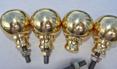 "4 small solid Brass BED KNOBS 2.1/2"" high vintage style COT hollow heavy polishB"