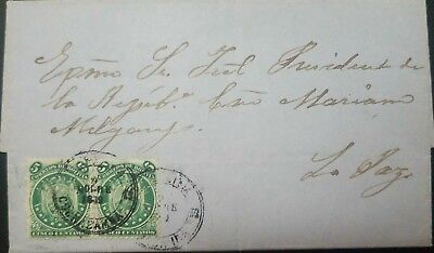 O) 1868 BOLIVIA, COAT OF ARMS SC.A4 5c GREEN 9 STARS, ENTIRE LETTER ADDRESSED TO