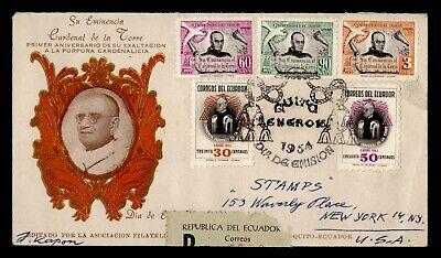DR WHO 1954 ECUADOR FDC CARDINAL POPE ANIV PORTRAIT CACHET COMBO  g23982