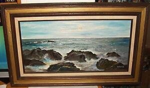 RUSCH-ORIGINAL-SEASCAPE-OIL-ON-CANVAS-PAINTING-ARTIST-SIGNED