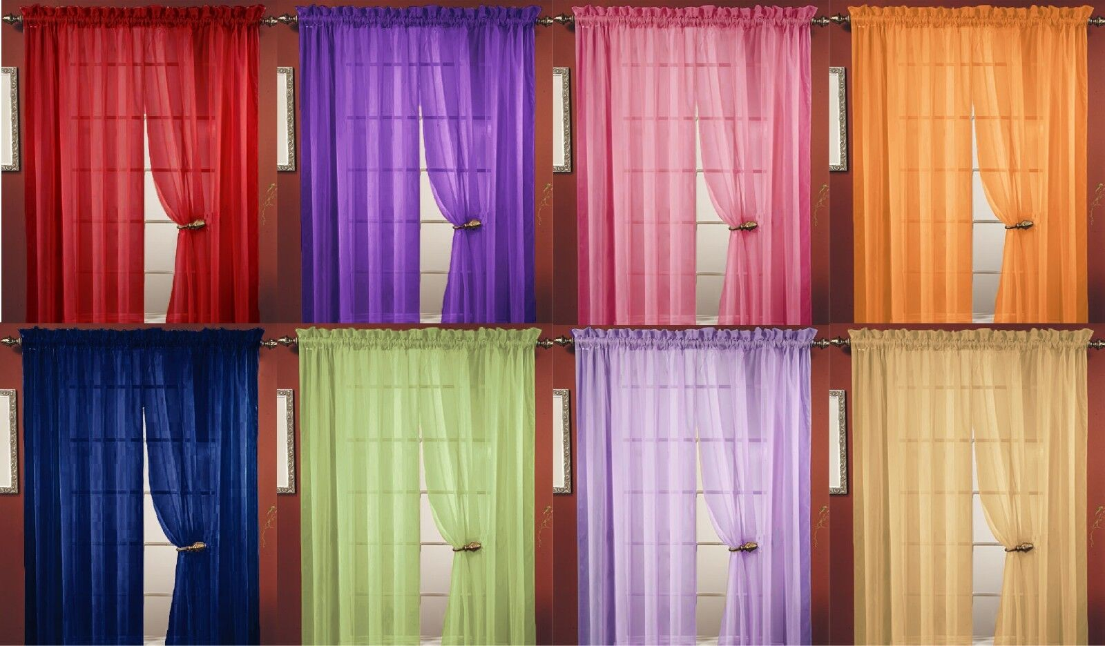 2PC SHEER VOILE WINDOW ROOM CURTAIN PANEL, 20 COLORS, GREAT