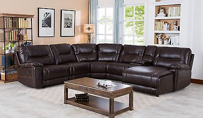- Leather Gel Reclining Sectional with Push Back Chaise, Saddle Brown