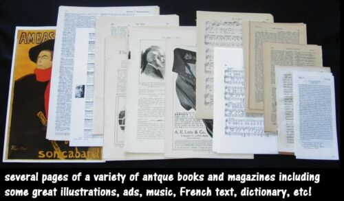50+pc Antique&Vtg Junk Journal Collage Art Paper Supply Pack~Book Page&Music Lot