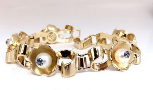 .50ct Natural Sapphires Within Pearls Vintage Clover Bracelet 14 Karat Vintage