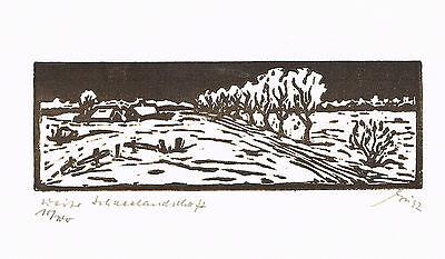 Weite Schneelandschaft - original Linolschnitt - Franz Grickschat Nr 169