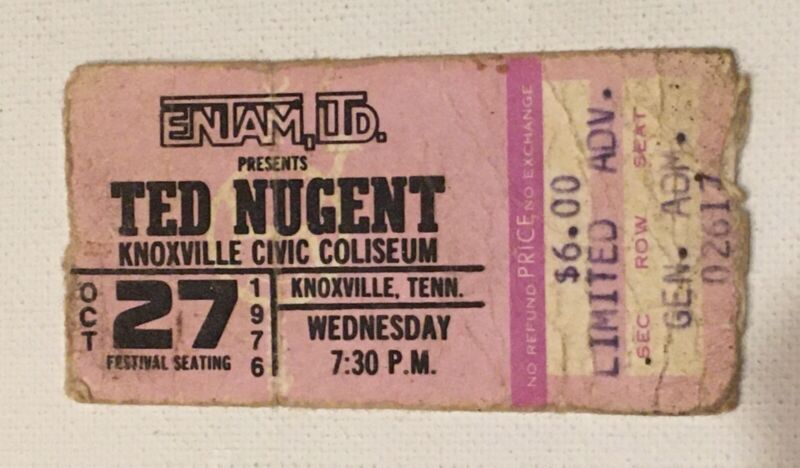 Ted Nugent 1976 Concert Ticket Stub Free For All Knoxville