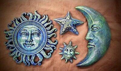 Set of 4 Celestial Sun Moon Star Sculpture Wall Plaque Home Garden Decor