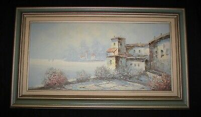 Framed Tuscan Mediterranean Landscape Scene P HUNTHER Oil Painting On Canvas
