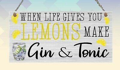 Gin and Tonic Bar Wooden Plaque Memories Family Friend Birthday Gift Sign](Birthdays And Signs)