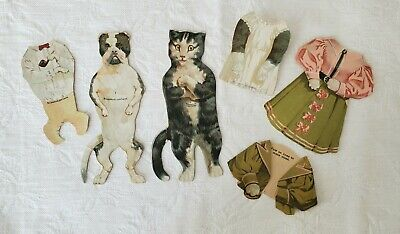 """Antique Advertising MCLAUGHLIN COFFEE Bull Dog Cat Paper Dolls Trade Cards 5.75"""""""