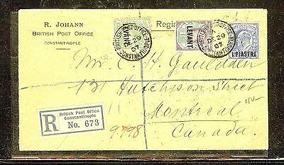 BRITISH LEVANT (P1206B) 1907 REG CONSTANTINOPLE KE 3 COLOR FRANK TO CANADA