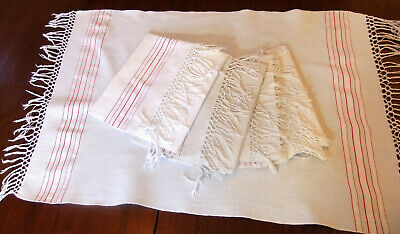 5 Large Napkins Antique Honeycomb with Fringe and Battens