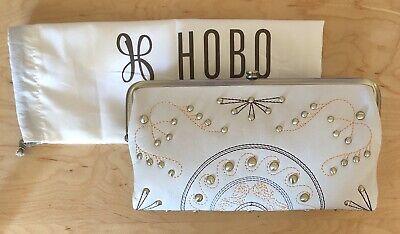 Nwt Women's Hobo Leather Double Frame Clutch Wallet, Lauren Stud, Magnolia