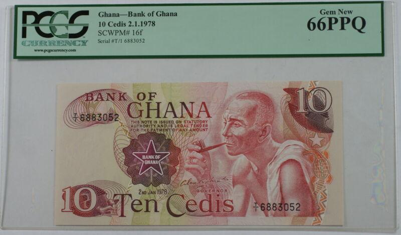 2.1.1978 Bank of Ghana 10 Cedis Note SCWPM# 16f PCGS 66 PPQ Gem New