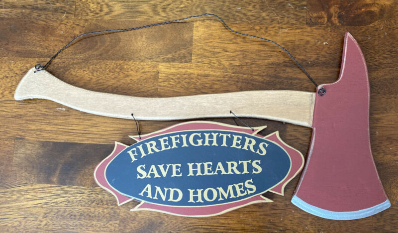 """Wooden Firefighters Save Hearts And Homes Wood Axe Sign 16"""" x 8"""" Firemen"""