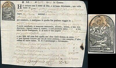 ITALY - GENOVA 1768, SCARCE ILLUSTRATED BILL OF LADING TO LIVORNO.  #M108
