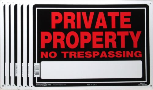 """(Lot of 6) PRIVATE PROPERTY NO TRESPASSING Metal Sign 14"""" x 10"""" Hillman >NEW<"""