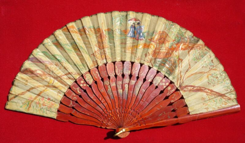 Antique Chinese lacquered wood Hand Fan