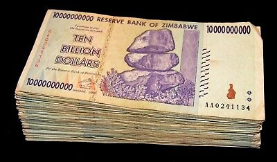 50 x Zimbabwe 10 Billion Dollar bank notes -1/2 bundle-paper money currency