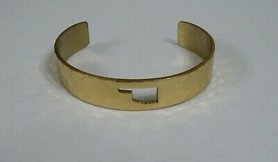 RUSTIC CUFF HAMMERED GOLD TONE CUFF BRACELET WITH OKLAHOMA CUT OUT DESIGN