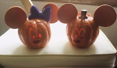 Minnie And Mickey Mouse Disney Mini Light Up Pumpkin Halloween Decoration.New