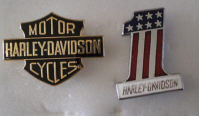 HARLEY DAVIDSON MOTOR CYCLES 2 x Top Quality Enamel Lapel Pin Badges MOTORBIKE
