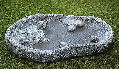 Vogeltränke Schildkröten, Vogelbad Wasserbecken Garten-deko Stein