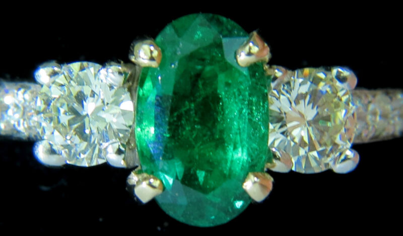█$10,500 3.05ct Natural Emerald Diamond Ring Zambia A+█