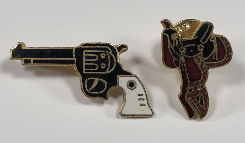Western Style Collection Lapel or Hat Pin Souvenir / Saddle and Revolver