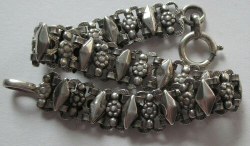 ANTIQUE VICTORIAN FRENCH STERLING SILVER FLOWER DIAMOND BOOK LINK CHAIN BRACELET