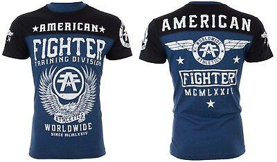 Usn Fighter - AMERICAN FIGHTER Mens T-Shirt DENVER Athletic NAVY BLACK Biker Gym MMA UFC $40