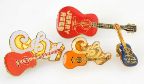 Country Music Guitar Pins Pinbacks Lot of 4 Tie Tacs Willie Nelson Hat Lapel