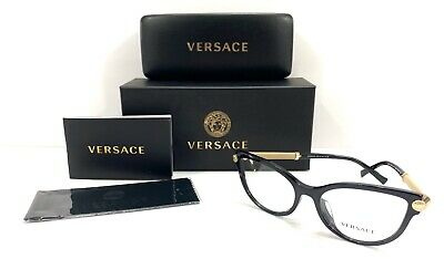 Versace Mod. 3270 -q-a 5299 Black W/ Gold Accents 54-17-140 Eyeglasses Cat eye